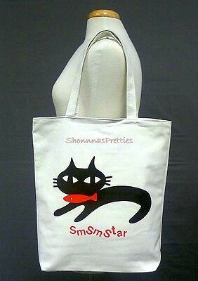 Cat & Fish Smsmstar Graphic Large Canvas Tote Bag Girls Womens
