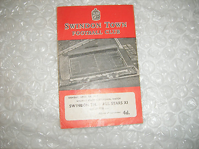 Swindon v All Star 9-4-62 Bradford Villa West Ham Wolves Preston Leeds Stoke