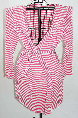 Bump in the Night Motherhood Maternity Pink Beige Striped Cotton Knit Robe L