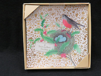 Fringe - Christmas - Glass Square Plate - Bird, Nest and Eggs
