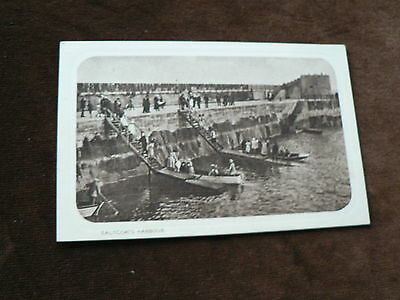 Old Photogravure Postcard, Saltcoats Harbour, Saltcoats, North Ayrshire, Boats