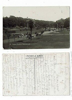 Post Card Real Photo Of Central Gardens Bournemouth