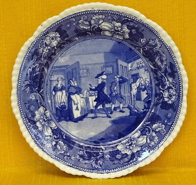 """Victorian Blue & White Gadrooned Rim """"DR SYNTAX Disputing Bill . . ."""", PLATE 10"""""""