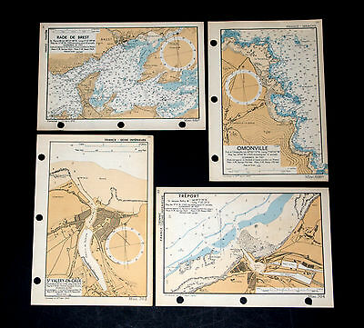D-DAY Plans for INVASION of FRANCE COASTLINE - 4 WW2 Naval maps 1943