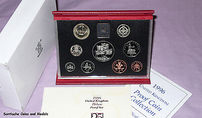 1996 ROYAL MINT DELUXE PROOF SET OF COINS - £5 + Euro Football £2 Coin
