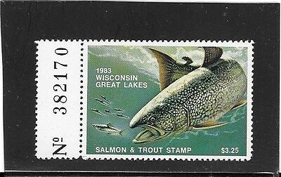 Wisconsin Great Lakes Salmon & Trout Stamp - MNH - 1983 - With Tab