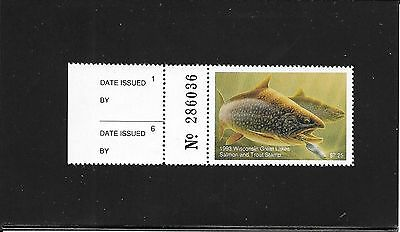 Wisconsin Great Lakes Salmon & Trout Stamp - MNH - 1993 - With 2-Part Tab