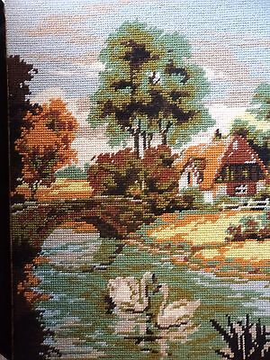 Vintage Hand Made Woollen Tapestry Picture -  Country Scene - Swans
