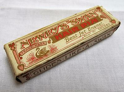"Antique Edwardian Newey's ""swan"" Jet Emanel Hair Pin Box & Unused Contents"