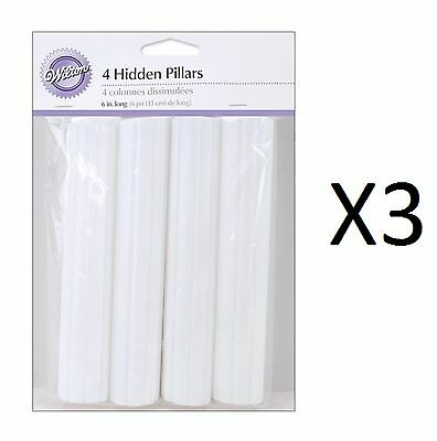 Wilton Hidden Cake Pillars White 6 Inch Trimable Pack Of 4 Hollow (3-Pack)