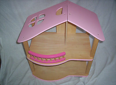 pre - school wooden dolls house / with 2 dolls & all furniture