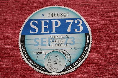 tax disc/collectable/expired road tax/road fund SEP 73~~~@~~~~