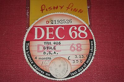 tax disc/collectable/expired road tax/road fund DEC 68~~@~~B.S.A. ~~