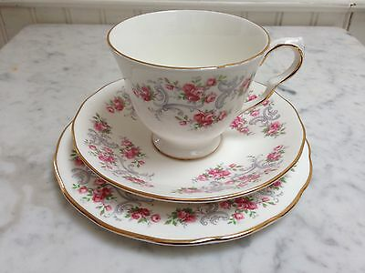Lovely Vintage China Tea Cup & Saucer & Plate Trio Royal Osborne Pink Roses