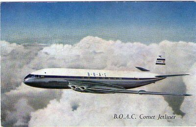 Aviation Item - An Unused Postcard Showing A B.O.A.C. Comet Airliner In Flight.