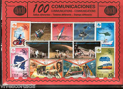100 stamps different world en used @@ Theme :  COMMUNICATIONS @@