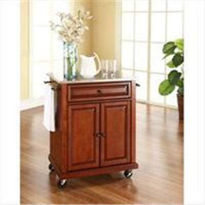 Crosley Furniture Stainless Steel Top Portable Kitchen Cart-Island in Classic...