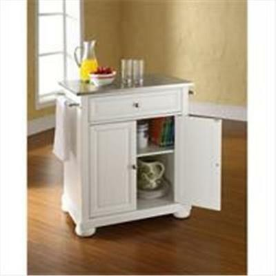 Crosley Furniture Alexandria Stainless Steel Top Portable Kitchen Island in W...