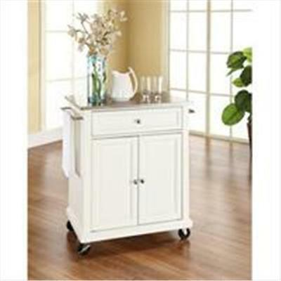 Crosley Furniture Stainless Steel Top Portable Kitchen Cart-Island in White F...