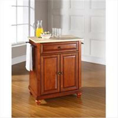 Crosley Furniture Cambridge Natural Wood Top Portable Kitchen Island in Class...
