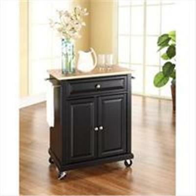 Crosley Furniture Natural Wood Top Portable Kitchen Cart-Island in Black Finish