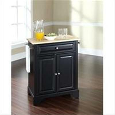 Crosley Furniture LaFayette Natural Wood Top Portable Kitchen Island in Black...
