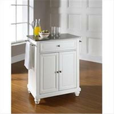 Crosley Furniture Cambridge Stainless Steel Top Portable Kitchen Island in Wh...
