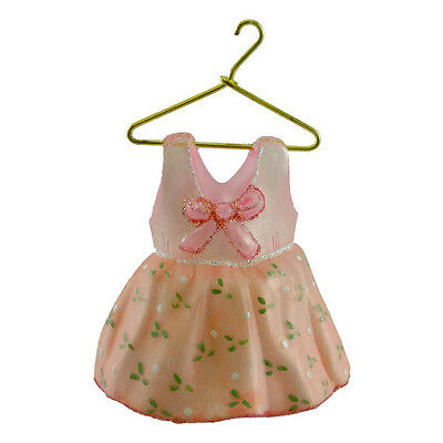 Ornaments To Remember PINK BABY DRESS Glass Romper Birthday Baptism 21R5DRS008