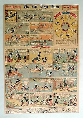 B553. Walt Disney SILLY SYMPHONIES MICKEY MOUSE Newspaper Comic Page (1934) [