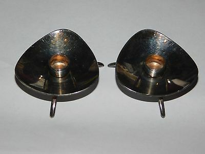 CARL COHR SILVER PLATED MODERNIST MID-CENTURY THREE FOOTED CANDLEHOLDERS x 2 DEN