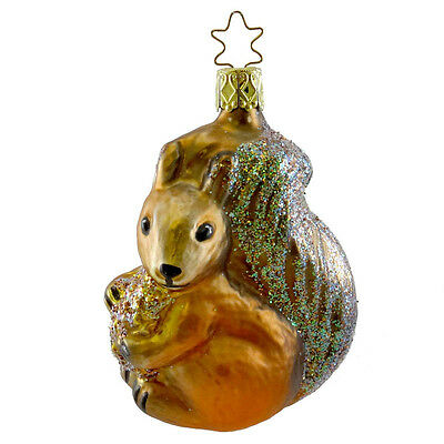 Inge Glas SQUIRRELLY SNACK Blown Glass Ornament Squirrel Nut Forest 145501