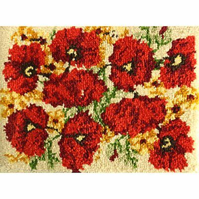 "Poppies Latch Hook Kit Rug Making Kit 20x27"" MCG Textiles No Tool Included"