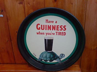 """Collectable Have A Guinness When You're Tired Metal Tray 12"""" Diameter"""