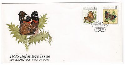 New Zealand 1995 Definitives Butterflies $4 & $5 On Official First Day Cover
