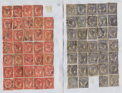 Queensland 1d Red & 2d Blue x 34 Each, Unchecked for Perfs, Varieties