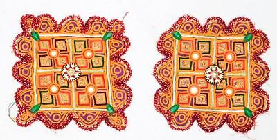 Vintage Rabari Pair Of Fine Hand Embroidery Mirror Ethnic Tribal Beaded Patches