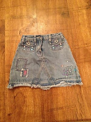 Next Girls faded Blue Denim Skirt Age 4 Years