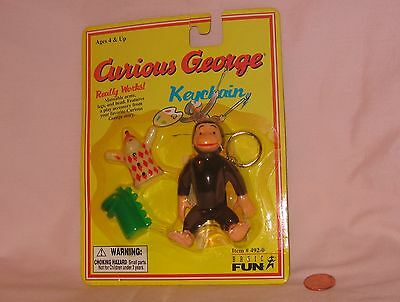 Poseable Curious George Keychain With Accessories; By Basic Fun 1998