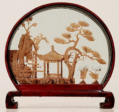 "Vintage Chinese Cork Carving in Glass & Lacquered Wood Case - 4"" Diameter"