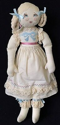 """17"""" Handmade Cloth Doll With Loopy Blonde Braids"""
