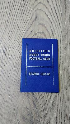 Driffield 1964-65 Rugby Members Ticket and Fixture Card