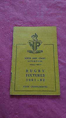 Liverpool District 1961-62 Rugby Fixture Card, Waterloo, Liverpool & Other Clubs