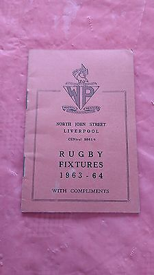 Liverpool District 1963-64 Rugby Fixture Card, Waterloo, Liverpool & Other Clubs