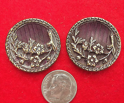"Lot set 2 matching Brass ornate victorian buttons 1 1/8"" vintage antique flowers"