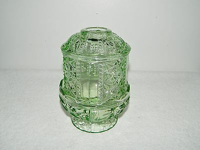 Indiana Glass Stars & Bars Green Fairy Lamp Candle Holder