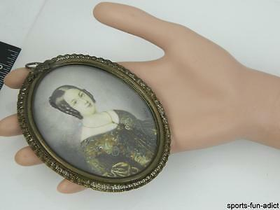 Rare Artist Signed Antique 19th Cent Hand Painted lady Necklace Portrait ANTIQUE