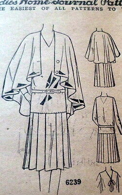 RARE VTG 1930s DRESS & CAPE Sewing Pattern 18/36 OLD DEADSTOCK