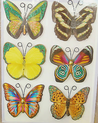 Pkg. of 6 Large Butterfly Glitter 3D Stickers Crafts 2""