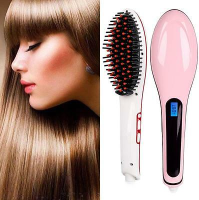 New Electric Hair Straightener Brush LCD Display Iron Brush Hair Massager Tool