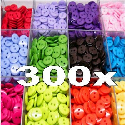 300pcs Candy Colors Round Resin Buttons Craft Scrapbook Sewing 15 mm 2 Holes